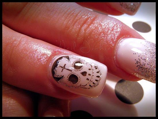 Girly Sugar Skull Art by Dana_NailJunkie - Nail Art Gallery nailartgallery.na... by Nails Magazine www.nailsmag.com #nailart