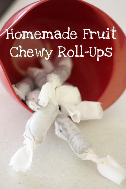 Homemade fruit roll-ups: 4 cups fruit, 1/2 cup sugar, 1 tbs. lemon juice. Blend, cook, bake and roll!