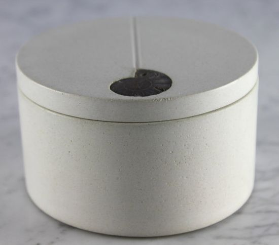 White Concrete Salt Cellar with Ammonite Inlay