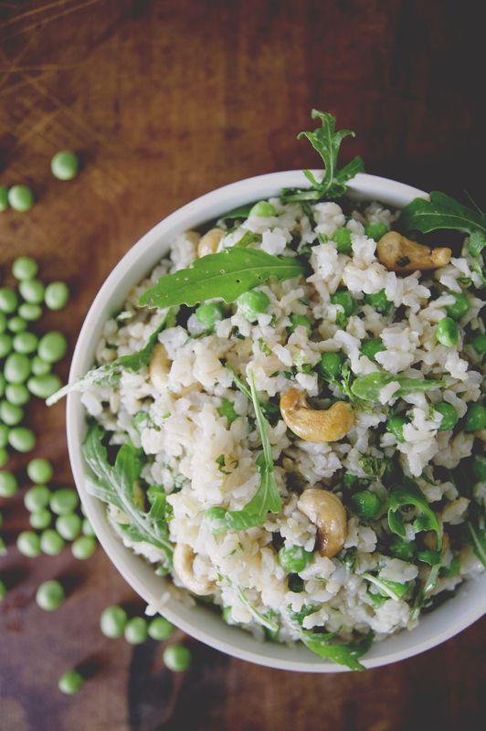 Coconut brown rice with peas, arugula, mint, basil + cashews