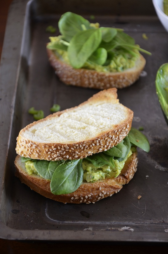 Chickpea and avocado salad sandwich