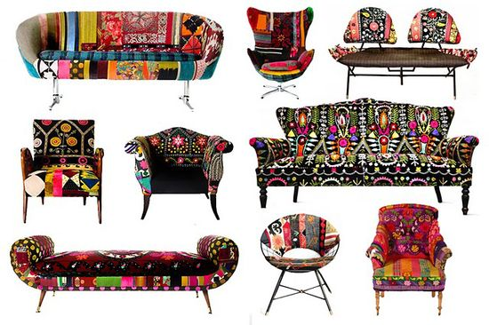 Bohemian - Bokja furniture using vintage Middle Eastern and Central Asian textiles