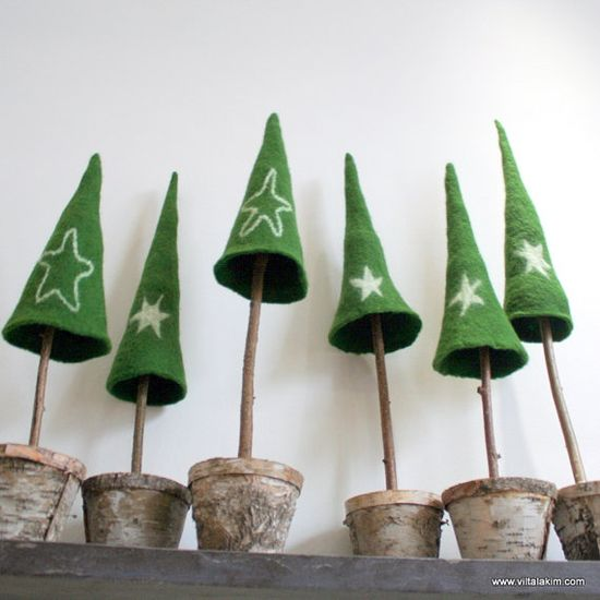 wet felted christmas trees