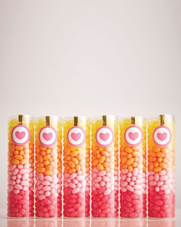 Layer differently colored jelly beans in see-through tubes to create gradients of deliciousness. #MarthaStewartWeddingsMagazine