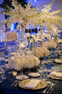 Formal, Indigo, Ballroom Wedding - Reception,  Centerpiece,  Ivory