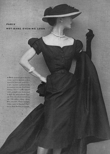 "The terrifically beautiful ""not-bare evening look"", 1951. #vintage #fashion #1950s #dress #hat"