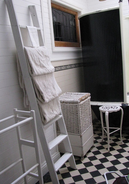 Decorating with ladders ~ our main bathroom