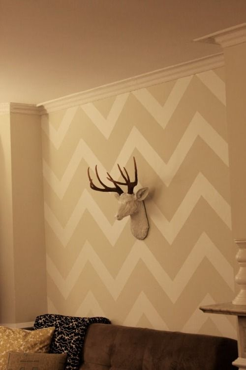 Love the color scheme here. Wall that desk will sit on in my office #chevron