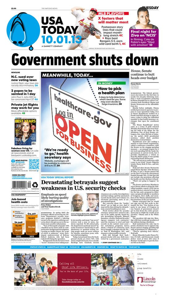 "USA Today contrasts gov shutdown and health care exchanges that are ""OPEN FOR BUSINESS"""