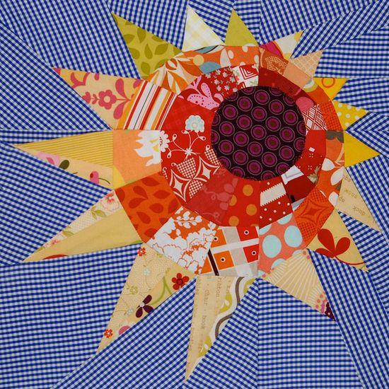 Paper pieced sun