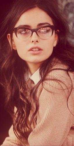 glasses + long wavy hair