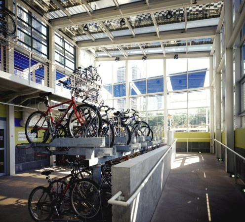 mcdonalds cycle center in chicago--storage for 300 bikes, a full service bike shop, shower facilities, and a cafe via curatedmag.com