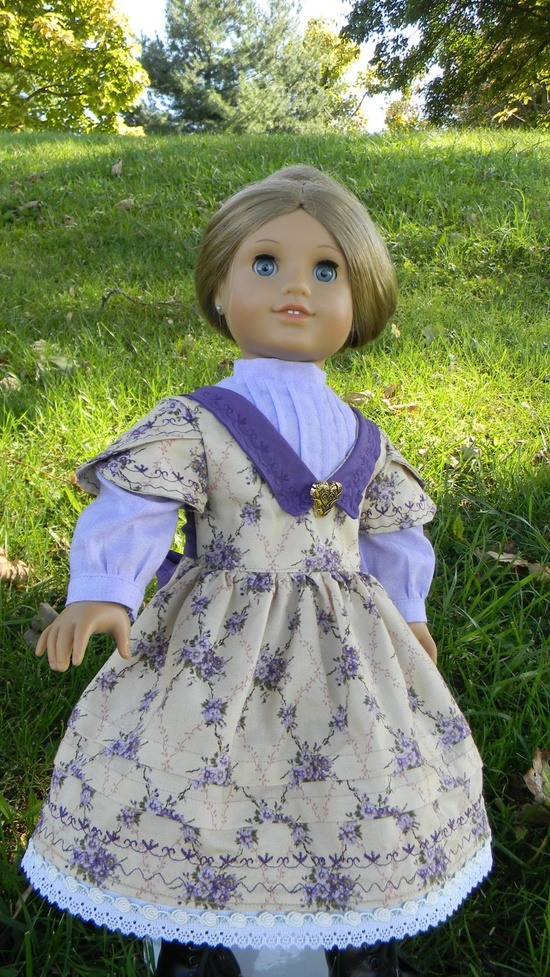 """18"""" Doll Gown Purple Floral Civil war Style Gown for American Girl or other 18"""" dolls Cecile Marie Grace"""