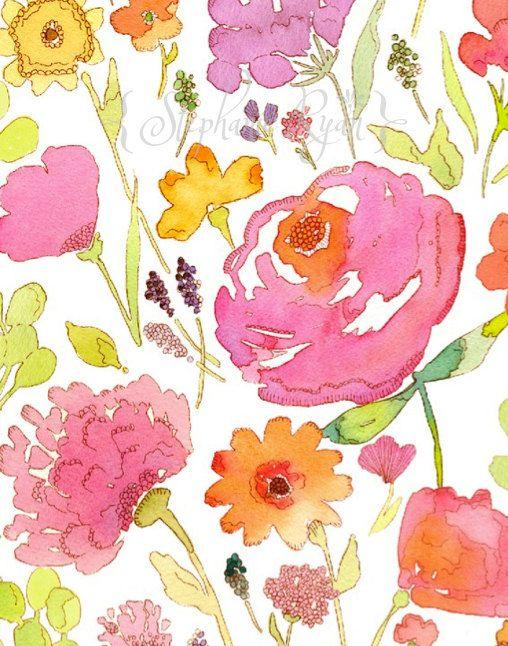 Watercolor Art Painting Print Jessica's Garden.