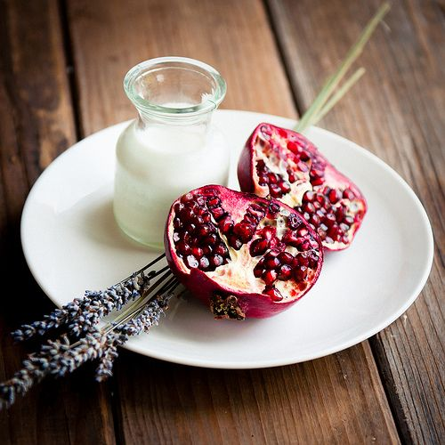 Pomegranate, Lavender, and Cream: for lavender-honey panna cotta with pomegranate jelly.