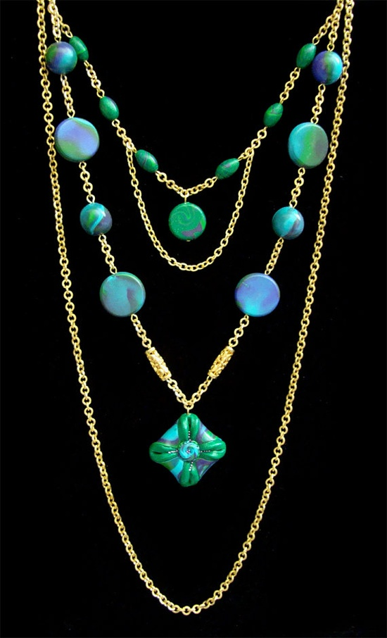 Mother's Day  Emerald Green  Turquoise  Long Necklace  by biesge, $39.90