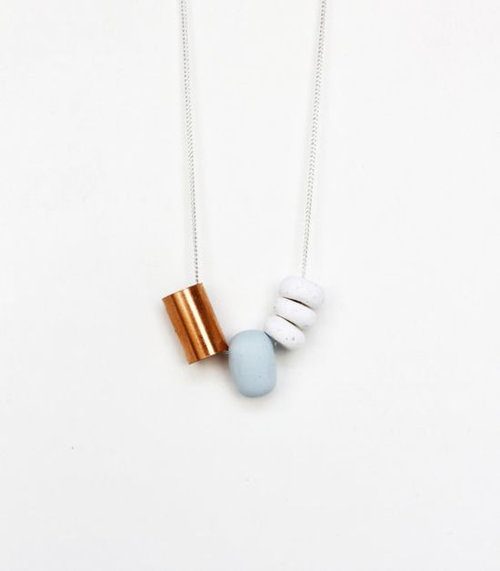 pale blue / copper limited edition necklace