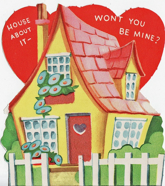 House about it? #Valentines #cards #cute #vintage