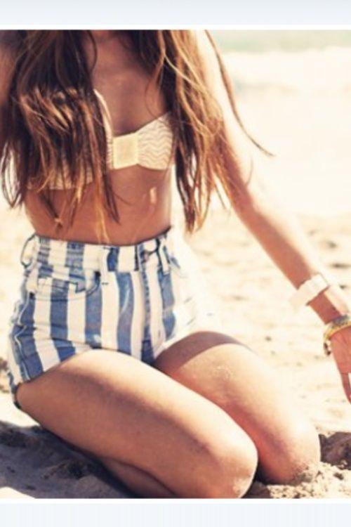 high waist strip denim - bikini top beach outfit