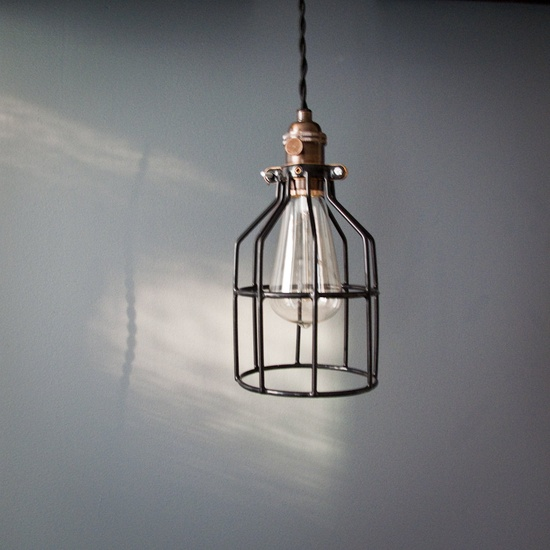 Industrial swag cage bulb pendant light. #jencausey