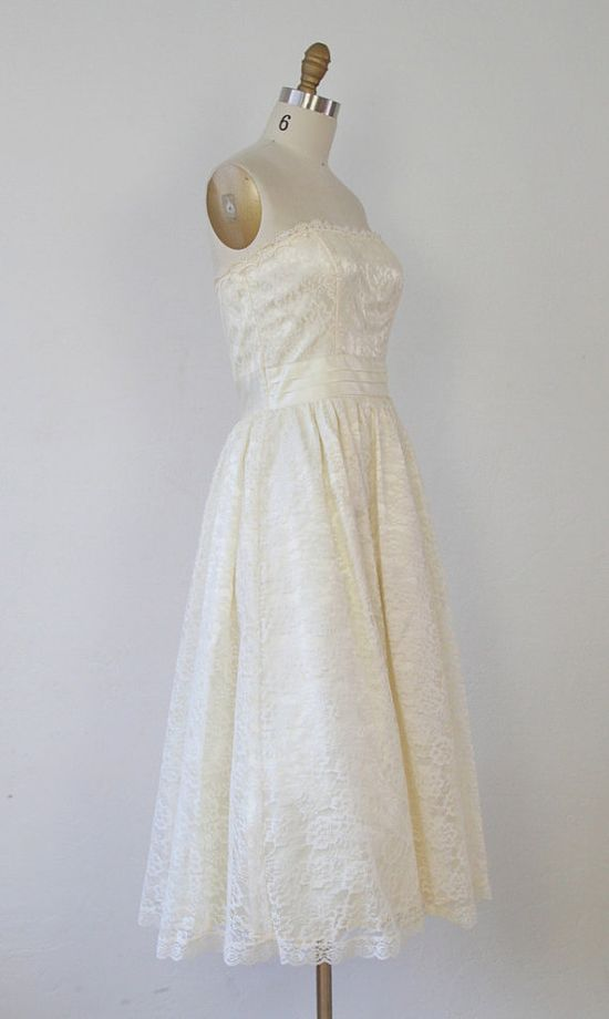 Cream Lace Dream 1950's Wedding Dress  S by salvagelife on Etsy, $448.00
