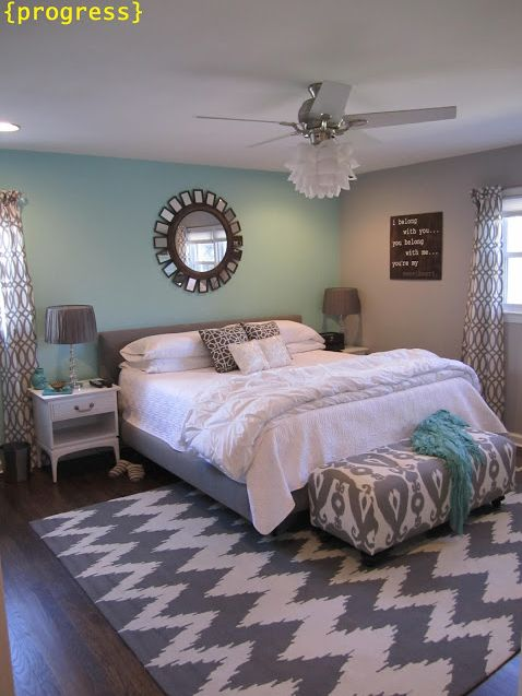 gray and teal bedroom.