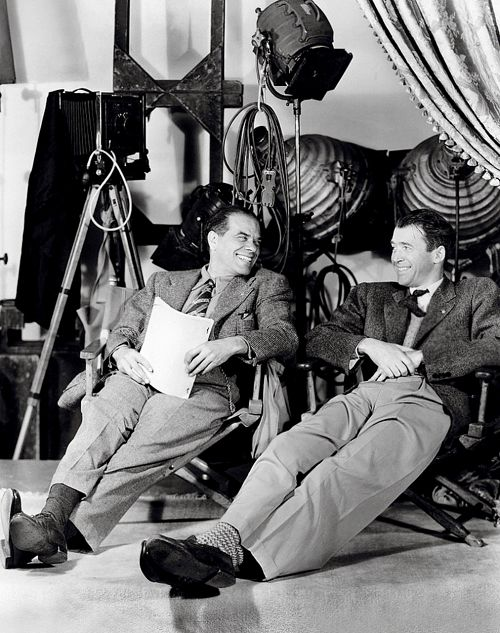 Frank Capra and James Stewart  on set of It's a Wonderful Life (1946)