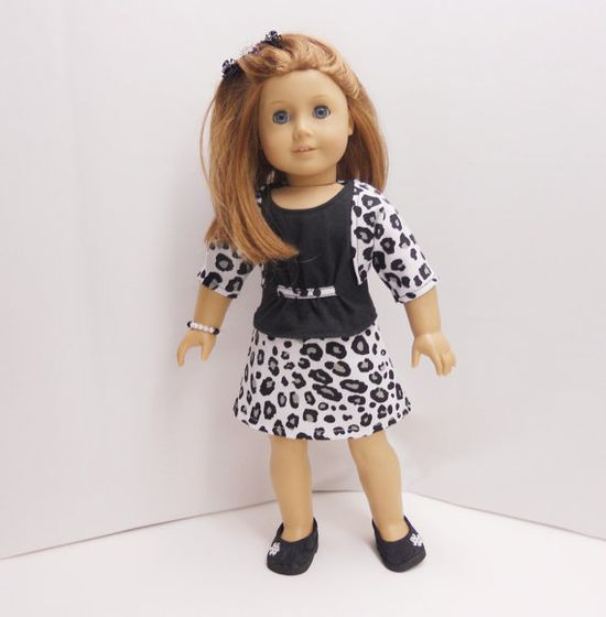 american girl doll clothes black and white leopard by MegOrisDolls, $22.00