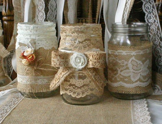 ViNTAGE LACE on Burlap wedding JARs  Bride and by Bannerbanquet, $34.50