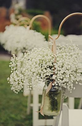 Baby's breath in mason jars, I love babies breath! So affordable too!