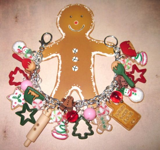 Christmas Jewelry Charm Bracelet Baking Gingerbread Man by Jynxx, $35.00