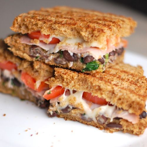 Cilantro Lime Black Bean Panini... Perfect for when we leftovers from Matt's famous black bean