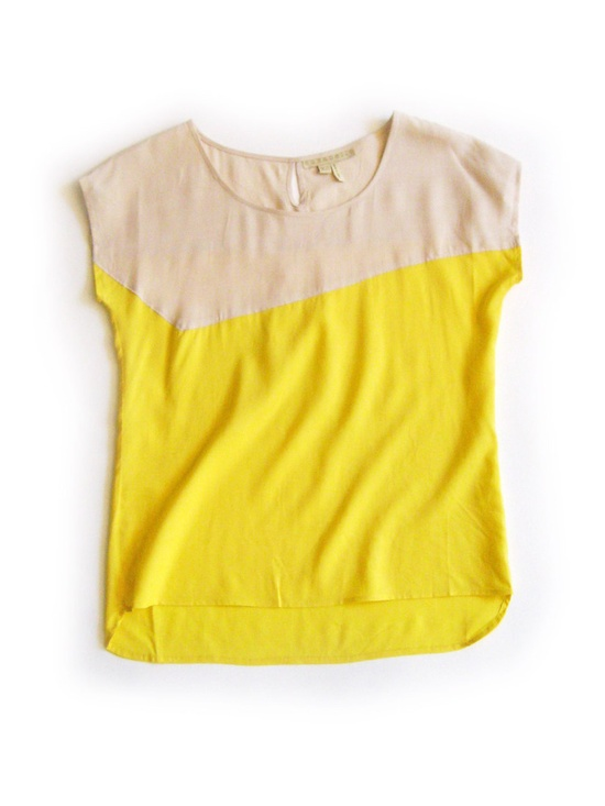 Cream/Yellow color block shirt