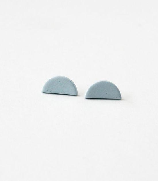 pale blue half circle earrings
