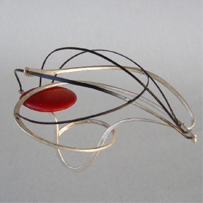 "Akis Goumas - ring - ""tensions"" forged silver, titanio, coloured wood -"