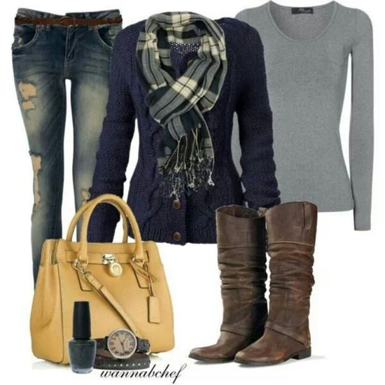 Cute Outfit for Fall.  Love the Navy Cable Sweater.