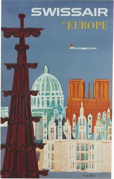 Europe * SwissAir #travel #poster 1960s