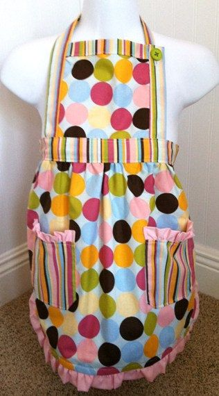 Colorful Dots and Stripes Kid's Apron by PootieCakeCreations, $25.00