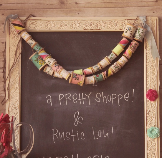 the sweetest banner made of vintage spools