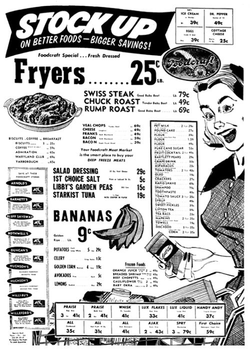 A 1950s grocery store sale ad. #vintage #1950s #supermarket #shopping