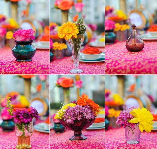 Simple flower arrangements - so people can actually see each other from across the table