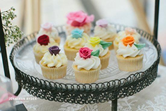 Handmade rose cupcakes