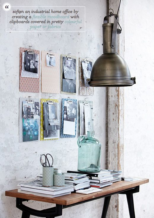 Decorating Idea: Create a home office moodboard with fabric covered clipboards