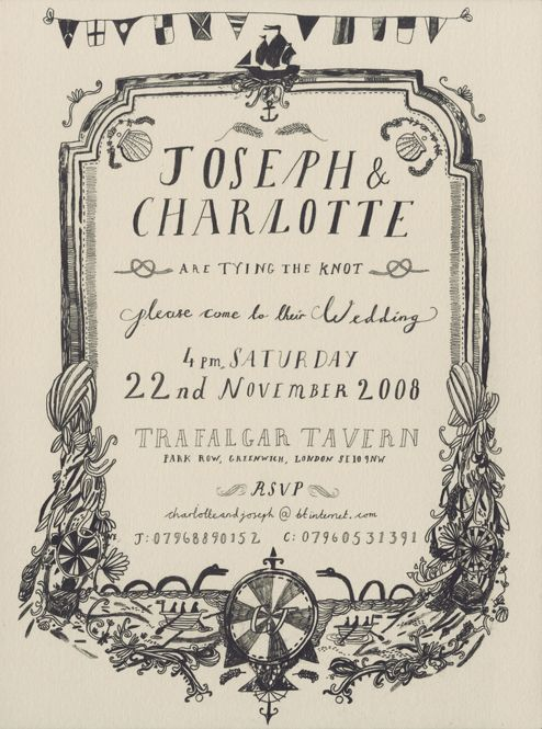 old fashioned wedding invite