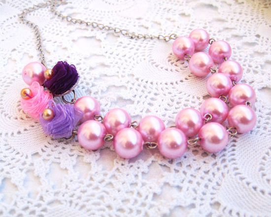 Pink Pearl Necklace Bridesmaid Necklace Two by LilaRoseJewel, $35.00