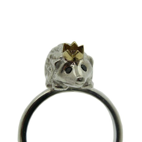 Too cute! Hedgehog Ring Silver with Black Diamond eyes and an by Rockcakes, $280.00