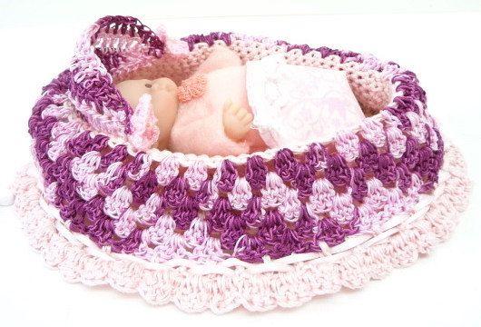 handmade  Gift Bag cradle purse crochet itty bitty baby doll church purse BG74