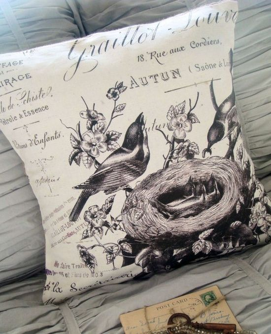 Pillow cover the Valentina cotton and burlap by JolieMarche, $37.00
