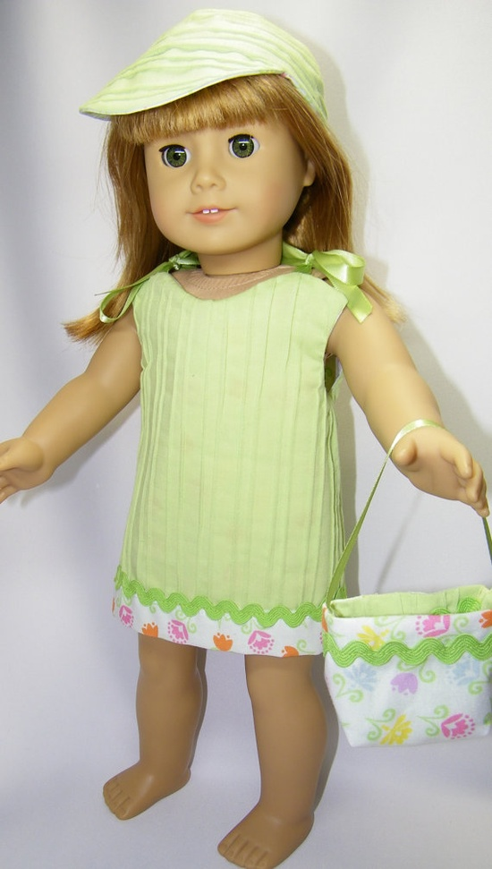 Reversible spring dress with matching hat and purse