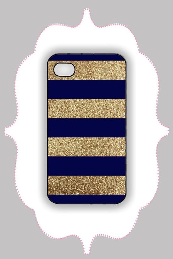 iPhone  Case- Navy/Gold Glitter Stripe- iPhone 4 Case, iPhone 4s Case, iPhone 5 Case, Monogram Case, Personalized iPhone Case. $16.99, via Etsy.